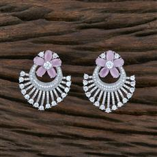 415513 Cz Short Earring With Rhodium Plating