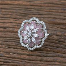 415535 Cz Classic Ring With Rhodium Plating