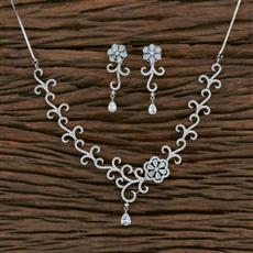 415572 Cz Classic Necklace With Rhodium Plating