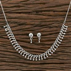 415573 Cz Classic Necklace With Rhodium Plating