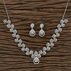 415580 Cz Classic Necklace With Rhodium Plating