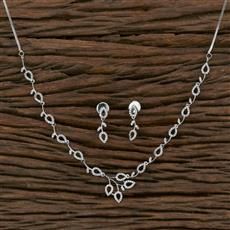415587 Cz Classic Necklace With Rhodium Plating