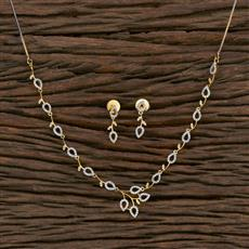 415589 Cz Classic Necklace With 2 Tone Plating
