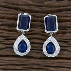 415631 Cz Classic Earring With Rhodium Plating