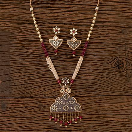 41624 Kundan Mala Pendant set with gold plating