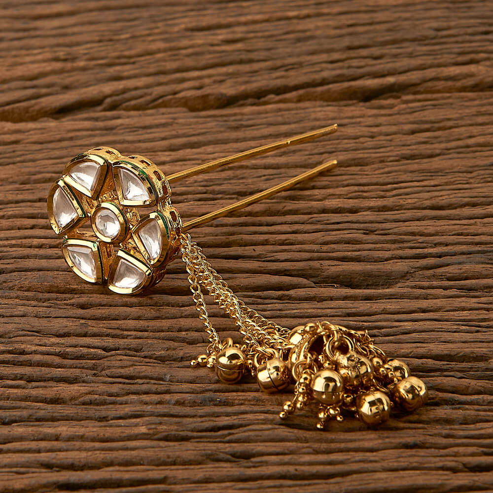 Purchase 41630 Kundan Classic Hair Brooch With Gold Plating Online