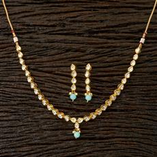 41760 Kundan Delicate Necklace with gold plating