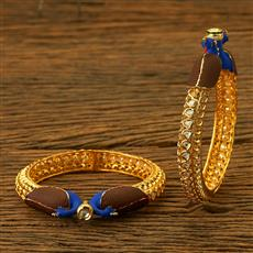 42050 Kundan Openable Bangles with gold plating