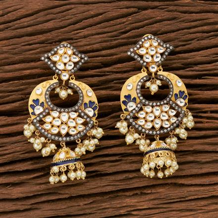 45357 Designer Jewellery Chand Earring with gold plating