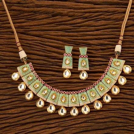 45568 Kundan Classic Necklace with gold plating