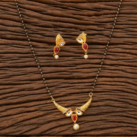 45734 Kundan Delicate Mangalsutra with gold plating