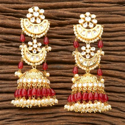 45778 Designer Jewellery Jhumkis with gold plating