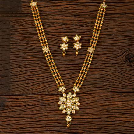 500017 Kundan Mala Necklace With Gold Plating