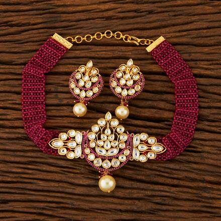 500018 Kundan Choker Necklace With Gold Plating
