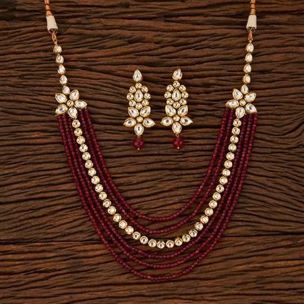 500030 Kundan 2 Side Pendant Necklace With Gold Plating