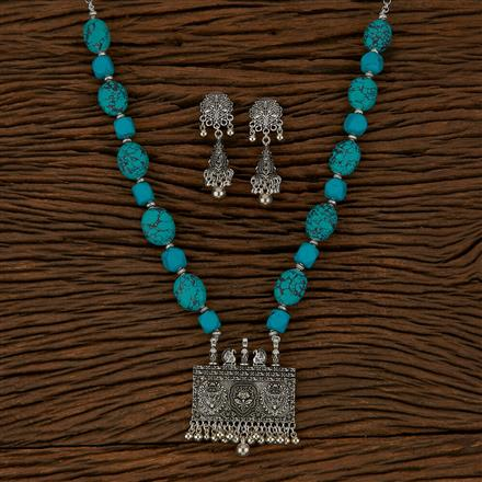 500136 Indo Western Peacock Pendant Set With Oxidised Plating