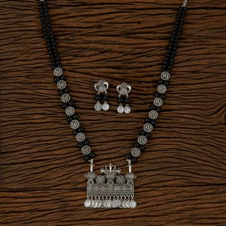 500137 Indo Western Peacock Pendant Set With Oxidised Plating