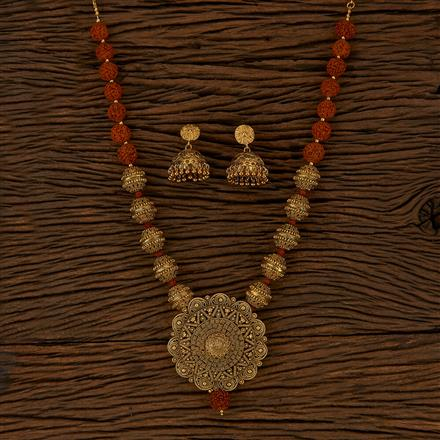 500140 Antique Mala Pendant Set With Gold Plating