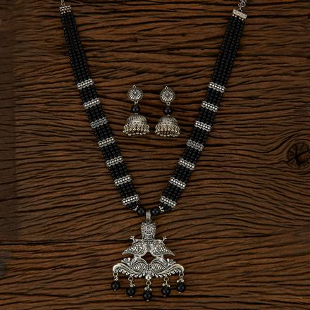 500143 Indo Western Peacock Pendant Set With Oxidised Plating