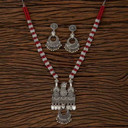 500144 Indo Western Peacock Pendant Set With Oxidised Plating