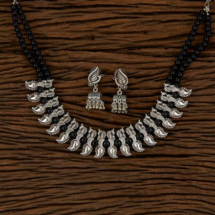 500145 Indo Western Peacock Necklace With Oxidised Plating
