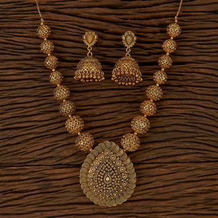 500148 Antique Plain Pendant Set With Gold Plating