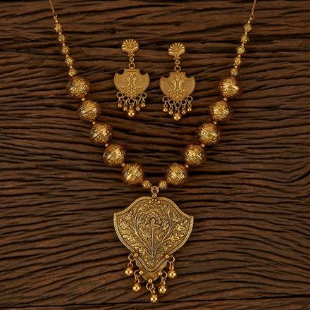 500149 Antique Plain Pendant Set With Gold Plating