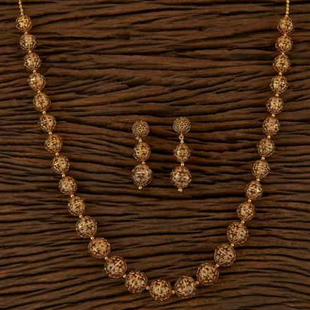 500157 Antique Mala Necklace With Gold Plating