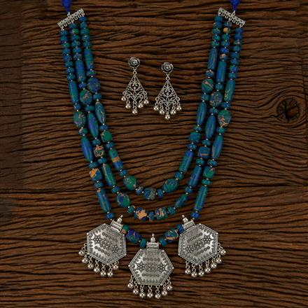 500163 Indo Western Long Necklace With Oxidised Plating