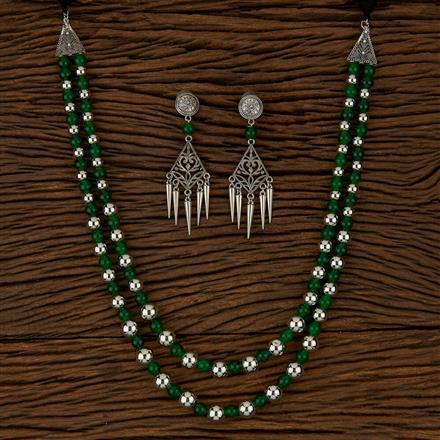 500166 Indo Western Mala Necklace With Oxidised Plating