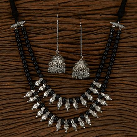 500170 Indo Western Mala Necklace With Oxidised Plating