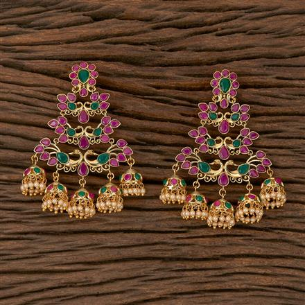 500184 Antique Jhumkis With Gold Plating