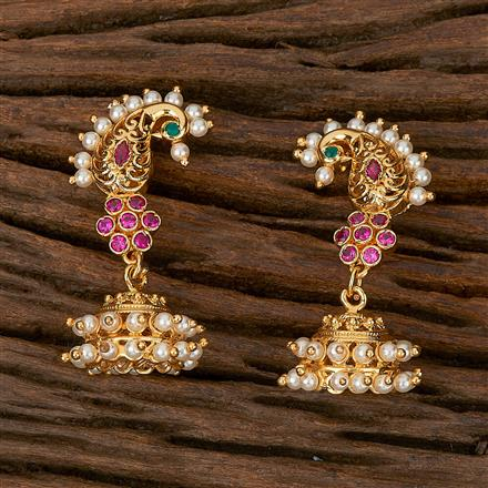 500186 Antique Jhumkis With Gold Plating