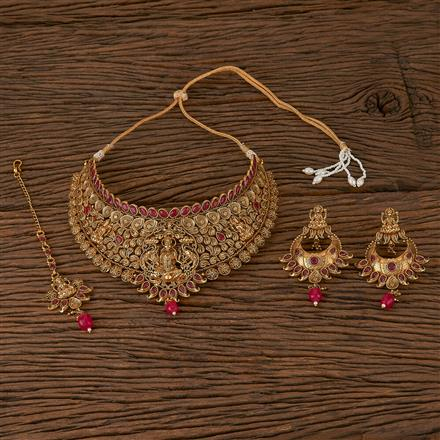 500190 Antique Mukut Necklace With Gold Plating