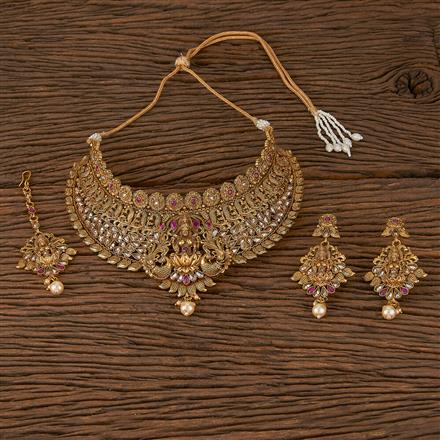 500191 Antique Mukut Necklace With Gold Plating