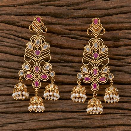 500200 Antique Jhumkis With Gold Plating