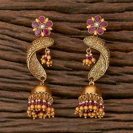 500209 Antique Jhumkis With Matte Gold Plating