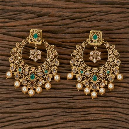 500219 Antique Chand Earring With Gold Plating