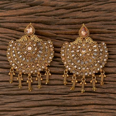 500221 Antique Chand Earring With Gold Plating