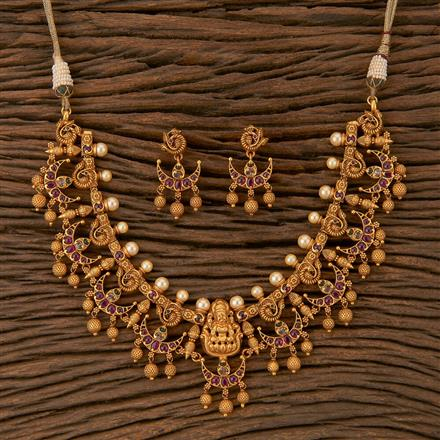 500242 Antique Temple Necklace With Matte Gold Plating