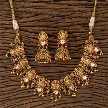 500243 Antique Temple Necklace With Gold Plating