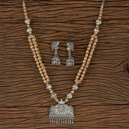500247 Indo Western Temple Pendant Set With Oxidised Plating