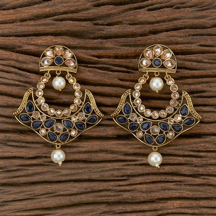 500283 Antique Chand Earring With Mehndi Plating