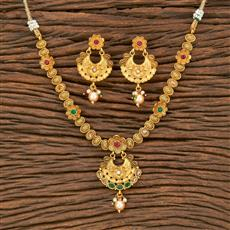 500322 Antique Delicate Necklace With Matte Gold Plating