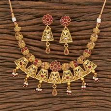 500324 Antique Classic Necklace With Matte Gold Plating