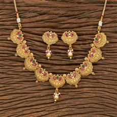 500334 Antique Classic Necklace With Matte Gold Plating