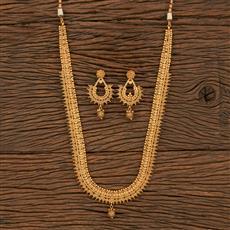 500335 Antique Plain Necklace With Matte Gold Plating