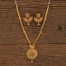 500340 Antique Peacock Necklace With Matte Gold Plating