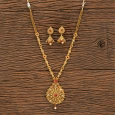 500341 Antique Long Necklace With Matte Gold Plating