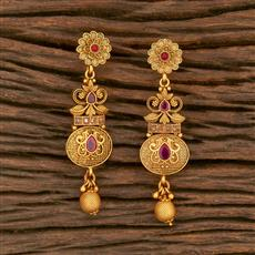 500342 Antique Delicate Earring With Matte Gold Plating